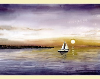 sailboat painting Print watercolor a sunset seascape ocean lake GICLEE 7x10