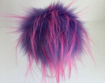 Luxury Purple with Pink Tufts Faux Fur Pom Pom
