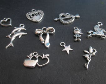 10 charms mixed 10 different patterns # C