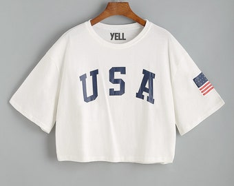 USA Shirt Crop Top American Flag Shirt for Women Ladies Girls Patriotic 4th of July Red White Blue Stars and Stripes Swimsuit Outfit YL006