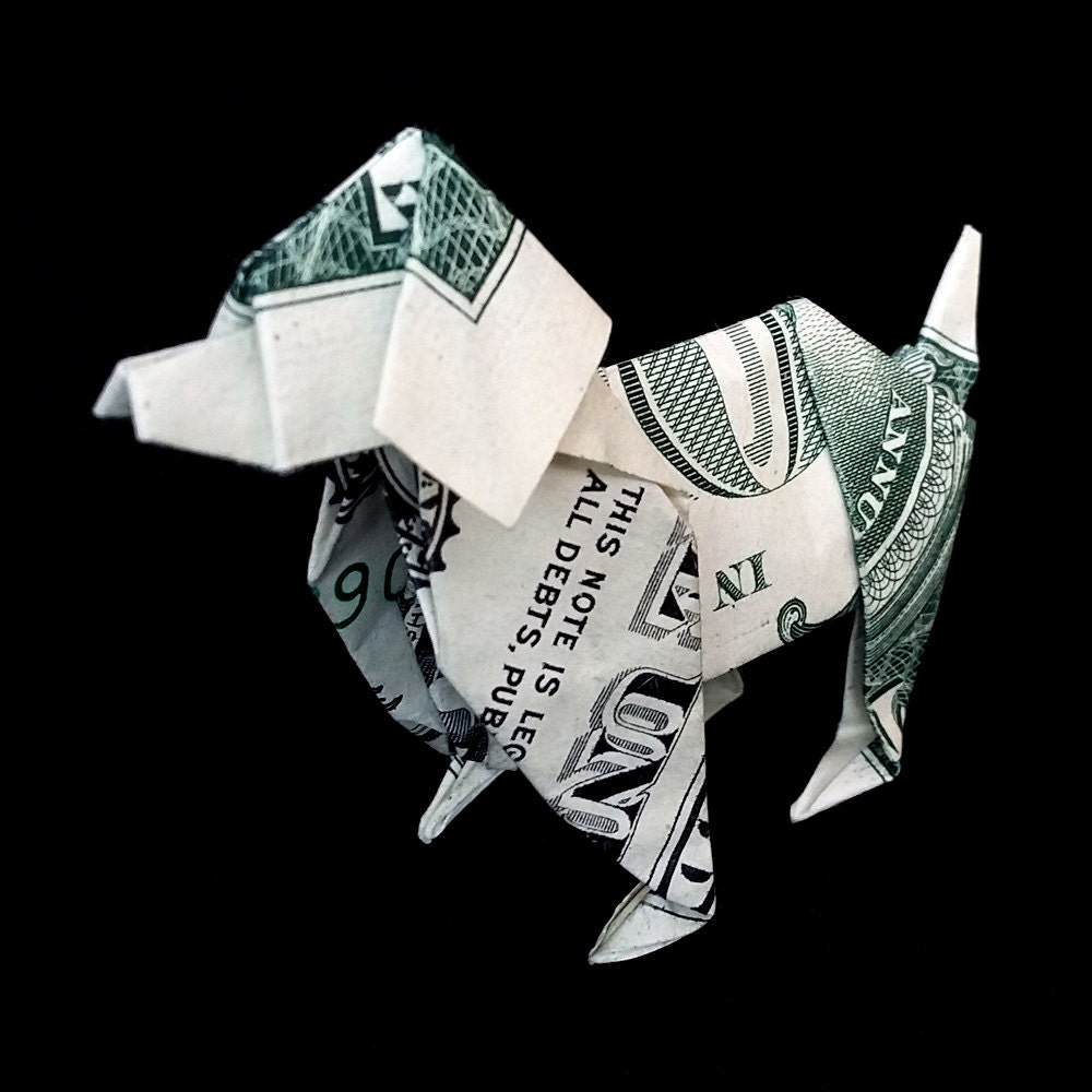 Money origami sculpture dog 3d art gift figurine handmade out zoom jeuxipadfo Choice Image