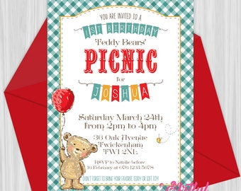 Printable Teddy Bears' Picnic Invitation