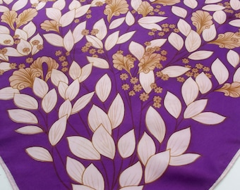 Vintage Summer Scarf - Purple and Brown Floral Spray 70s - Ladies' Summer Neck Scarf