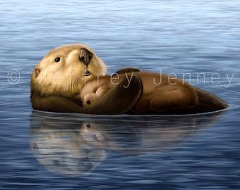 Sea Otter Print - Fine Art Print From An Original Painting - 8x10 - By Jeffrey Jenney - Ocean Art - Otter Print - Otter Painting - Otter Art