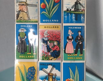 Set of 9 Unused Vintage Holland Scene Matchbox Matches by E.H. Holland