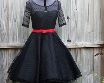 black cocktail dress polka dot tulle fabric - retro style engagement party dress - black wedding dress - polka dot bridal dress  KYRA style