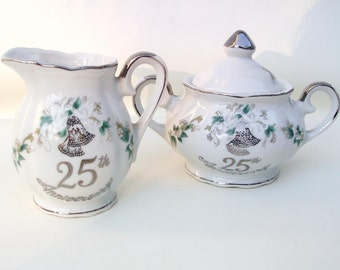 Vintage Sugar Creamer Set | Lefton China | 25th Anniversary | Sugar Bowl and Creamer Set | Sugar Bowl with Lid | Cream Pitcher