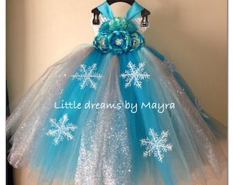 Snow Queen Elsa dress inspired, tutu dress and matching hair clip size nb to 9years
