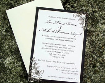 Rustic Rose Themed Wedding Invitation (also available as a print yourself digital file)