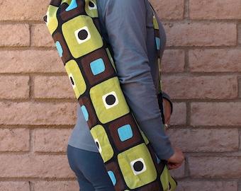 Yoga Mat Bag, Yoga Mat Tote, Yoga Bag, Yoga Tote, Yoga Sling, Yoga Sac, Yoga Sack, Handmade, Brown green MODERN RETRO