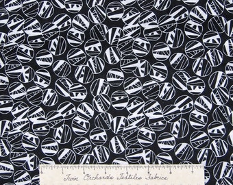 Calico Fabric - Black & White Abstract Circles - Cotton Sewing Quilting YARD