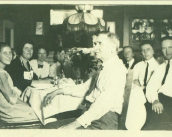 Family Around The Dinner Table Father At Head 1920s Vintage Photo Black and White Photograph