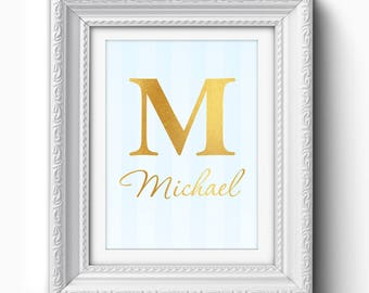 Custom Baby Boy Name Print, Baby Girl, Gold Typography Print, Custom Baby Nursery Print, Personalized Nursery Art, Personalized Gold Print