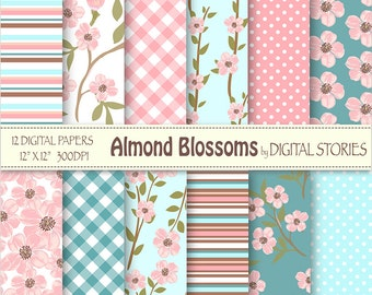"Floral Digital Paper: ""ALMOND BLOSSOMS""  Blossoms Floral Pink Turquoise Blue Digital Scrapbook Paper for invites, cards"