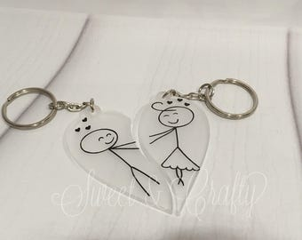 Frosted stick people love heart key chain