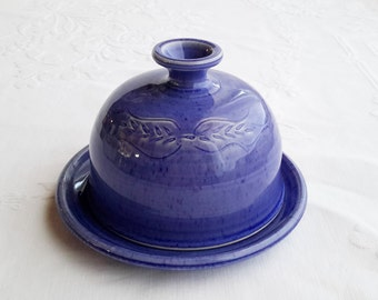 Butter dish with lid, blue pottery butter dish, covered ceramic butter keeper, gift for cook