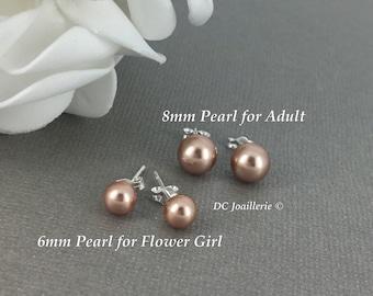 Swarovski Rose Gold Pearl Earring Stud Earrings Bridesmaid Gift Bridesmaid Earrings Flower Girl Earrings Rose Gold Earrings Wedding Earrings