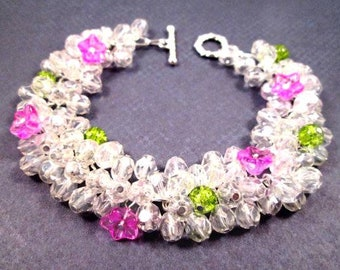 Flower Bracelet, Pink Green and White Luster Glass Beaded, Silver Chain Bracelet, FREE Shipping U.S.