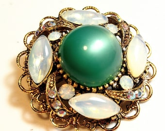 Vintage Green Moonglow Cabochon and Opalescent Navette Glass Stone Brooch