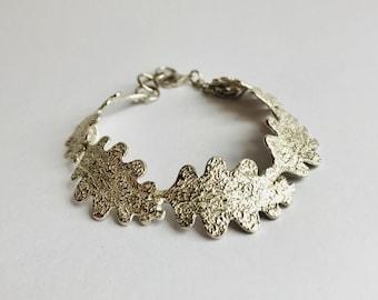 Handmade Silver Oak Leaf Bracelet