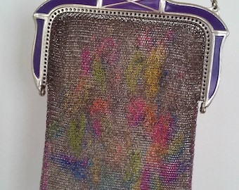 1920s WHITING & DAVIS--Dresden Mesh Evening Bag--Watercolor Style--Purple Enamel and Silver Frame--Mint