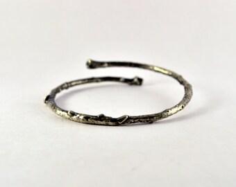 Sterling Silver Twig Bangle Bracelet / Aged / Adjustable Bracelet / Cast from A Twig / Stacking Stack Stackable / Branch Thorn Eco Organic