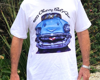 1957 Chevy Shirt Chevrolet T-Shirt Classic Car Tee Chevy Bel Air Gift for Dad Oldtimer Lover Turquoise Chevy Vintage Car Gift for Grandpa