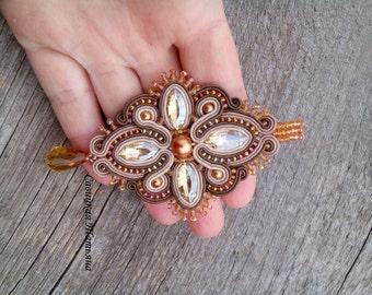 Soutache Beige and Gold Pendant - Hand Embroidered Soutache Jewelry - Soutache pendant with crystals - Beige and Gold Soutache Jewelry