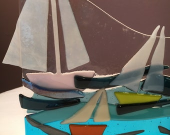 Lighthouse and Sailboats - a fused glass suncatcher