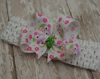 Baby Owl Headband Infant/Toddler Bowband Hair Bow Pink & Green