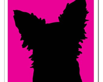 Long Haired Chihuahua Silhouette-Pop Art Print