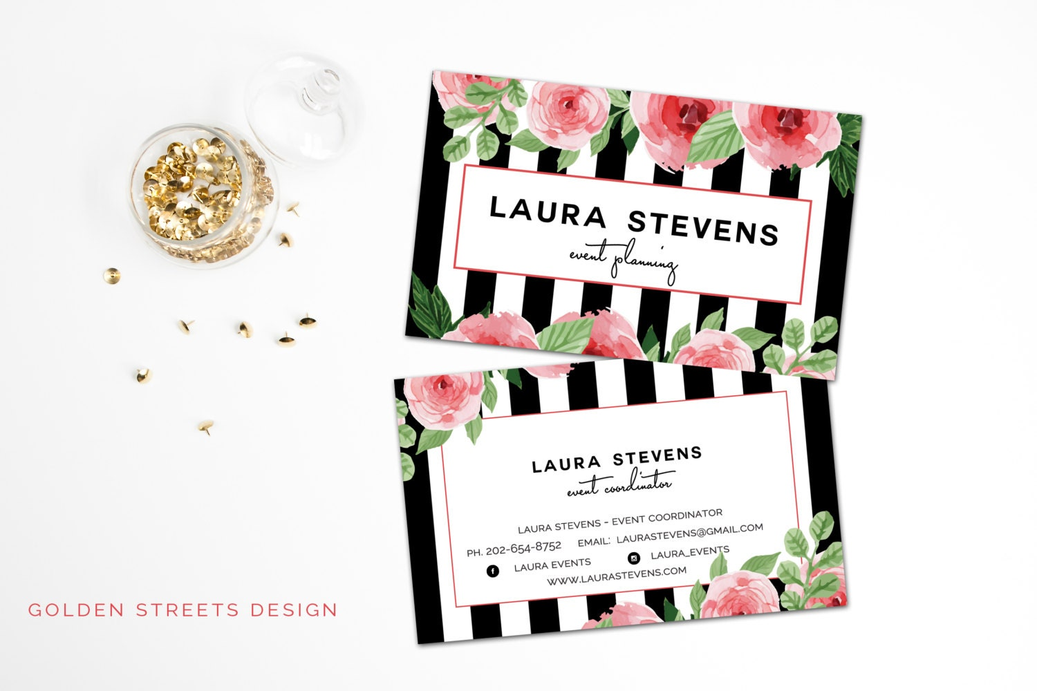 Gorgeous Black & White Stripes Business Cards Watercolor