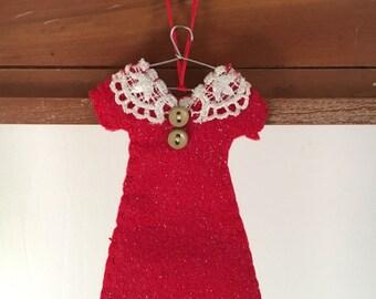 RTS - Felt dress ornament, fashion, holiday, decoration, christmas, gift