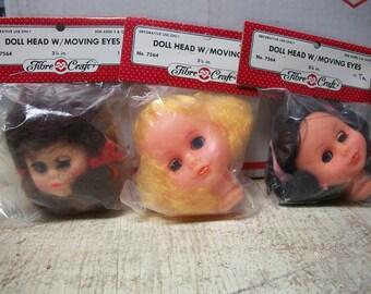 Packaged FibreCraft Doll Head with Peek-A-Boo Eyes