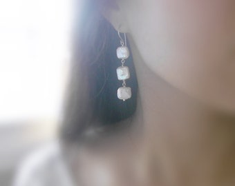 In the treasure box - three (earrings) - Small square pearls with sterling silver