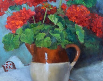 Red Geraniums In Crock Pitcher Still Life Painting,Origina Oil Painting On Canvas by Cheri Wollenberg