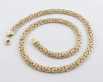 14k Yellow Gold Byzantine Chain Necklace - Elegant Necklace For Her