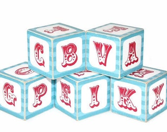 ABC Blocks Teal and Red Circus Alphabet Wooden Blocks