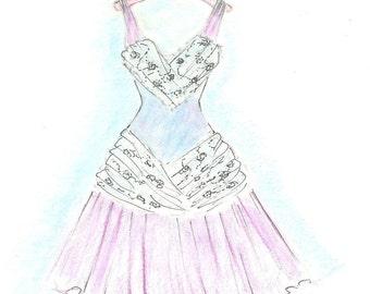 Pink and Blue Watercolor Dress Fashion Illustration, Girls Room Decor, Teen Tween Wall Art, Fashion Wall Art