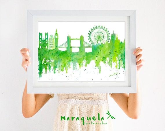 LONDON Skyline Green hues, original watercolor London city, England, UK, Europe art print, poster Londres ,londra, decor United Kingdom wall