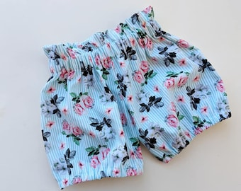 Floral Blue Short, Blue Birthday Shorts,  Couture Floral Shorts, Baby Girl Floral Shorts, Floral Party Shorts, Bubble Shorts, Bubble Floral