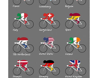 Cyclists of the World Bicycle Poster (#1802) 3 sizes