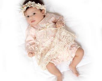 Baby Girl Lace Skirted Romper, Newborn Girl Outfit, Baby Girl Skirted Romper Pink Floral, Baby Girl Pink Romper Headband