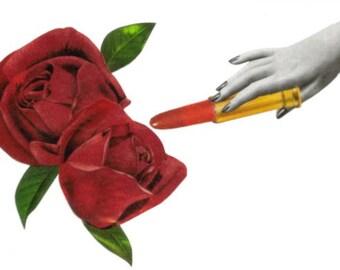 Original Art Collage, Floral Design, Red Rose Wall Art, Red Wall Decor, Lipstick Artwork, Blooming Flower