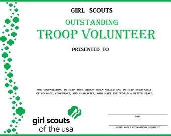 Girl scout volunteer etsy girl scout outstanding troop volunteer certificate yadclub Image collections