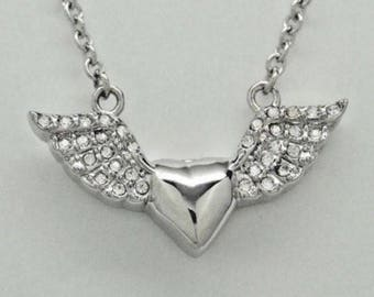 Heart with CZ Angel Wings in 316L Stainless Steel Urn Necklace || Ashes Keepsake