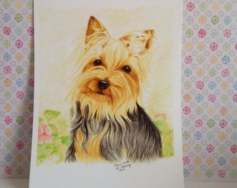 Yorkshire Terrier print,,Miniature Yorkie Dog Print, Yorkshire Terrier Gift, Dog Lover gift,Silver and Tan Yorkie Print. Adult Yorkie Print.