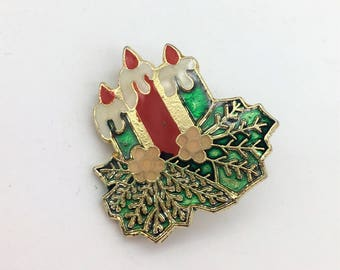Vintage Red, Green & Gold Tone Christmas Candle Brooch