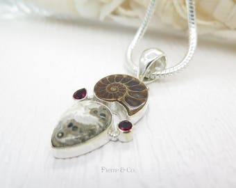 Ammonite Fossil Ocean Jasper and Garnet Sterling Silver Pendant and Chain