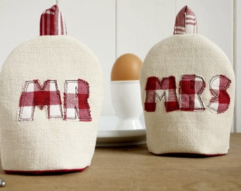 Mr And Mrs Egg Cosies - Personalised Egg Cosies - Boiled Egg Covers - Wedding Gift - Cotton Anniversary Gift - Linen Anniversary Gift -